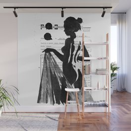 Emma pure black and white Wall Mural