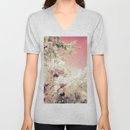 Pink Lavender Flowers Unisex V-Neck