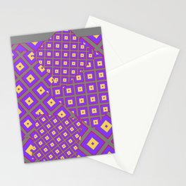 GREY PURPLE CREAM MODERN SQUARES ART Stationery Cards