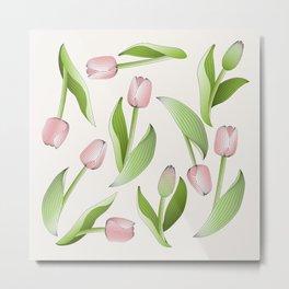 Retro Chic Pink Tulip Patten Metal Print