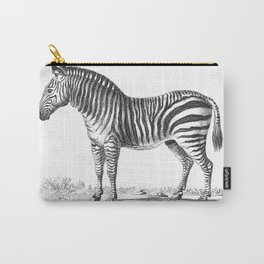 Zebra black and white retro drawing Carry-All Pouch