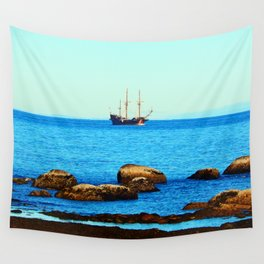 Spanish Galeon by the Rocks Wall Tapestry