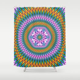 Floral Motif in Chevron Rings Shower Curtain