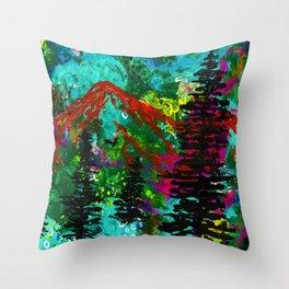 Go Wild - Mountain - Abstract painting Throw Pillow