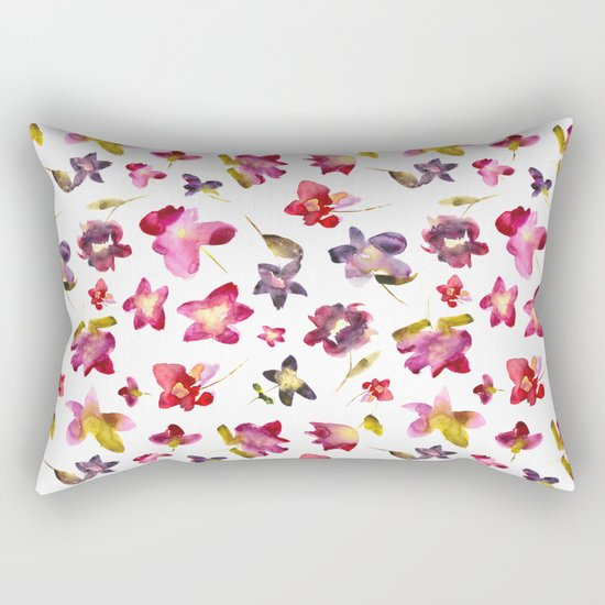 Floral vibes in watercolor Rectangular Pillow