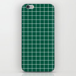 Castleton green - green color - White Lines Grid Pattern iPhone Skin