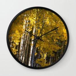 Golden Aspens Wall Clock