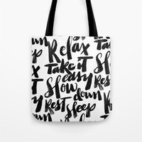 relax Tote Bags featuring relax by Matthew Taylor Wilson