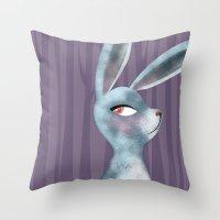 bunny Throw Pillows featuring Bunny by makoshark