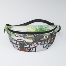 Watercolor Cafe Fanny Pack