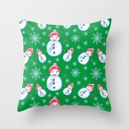 Snowman Christmas Pattern Throw Pillow