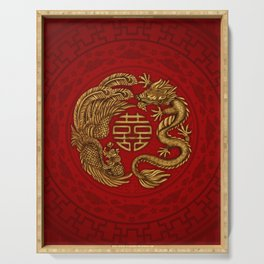 Double Happiness Symbol with Phoenix and Dragon  Serving Tray