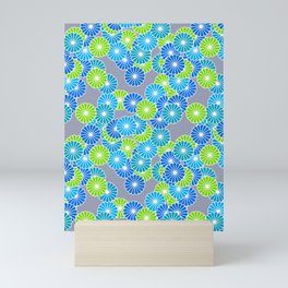 Art Deco Stylized Flower Pattern Blue and Lime Green Mini Art Print