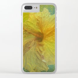 zen pattern yellow hibiscus Clear iPhone Case