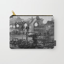 Copenhagen street scene,view from cafe, black and white Carry-All Pouch
