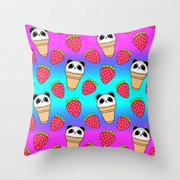 Cute funny sweet adorable little baby panda bear ice cream cones with sprinkles and red ripe summer strawberries cartoon bright rainbow blue pattern design Throw Pillow