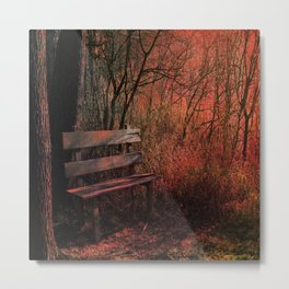 Days Gone By, Forest Landscape Bench Metal Print