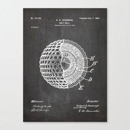 Golf Ball Patent - Golfer Art - Black Chalkboard Canvas Print