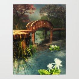 Wooden bridge over lotus pond Poster