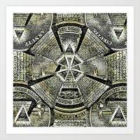 illuminati Art Prints featuring Illuminati by Brandon Combs - Glitz & Grime