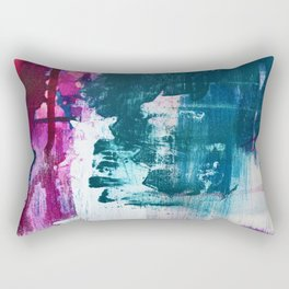 Complexity: a pretty abstract mixed-media piece in teal and purple by Alyssa Hamilton Art Rectangular Pillow