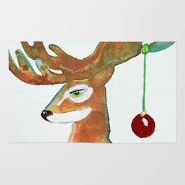 Frosty Reindeer with Full Antlers and a Red Ornament Rug