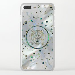 Leo Zodiac Gold Abalone on Constellation Clear iPhone Case