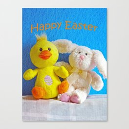 Happy Easter Chick + Bunny Canvas Print