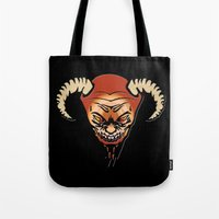 devil Tote Bags featuring Devil by LessaKs Art