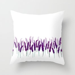 Lavender Field | Purple Flowers in Watercolor Throw Pillow