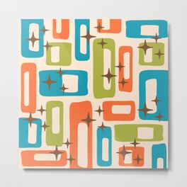 Retro Mid Century Modern Abstract Pattern 921 Orange Chartreuse Turquoise Metal Print