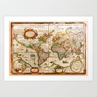 vintage map Art Prints featuring Vintage Map by Diego Tirigall