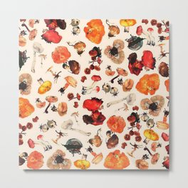 Mushroom Botanical Pattern Metal Print