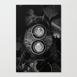 Coffees (Black and White) Canvas Print