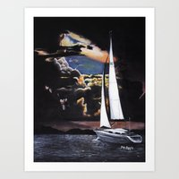 sailboat Art Prints featuring Sailboat by Madison Apple
