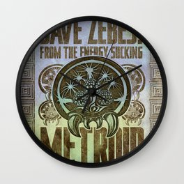 Save Zebes! Metroid Geek Art Vintage Poster Wall Clock