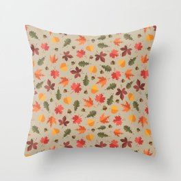 Autumn Leaves Pattern Beige Background Throw Pillow