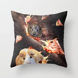 Galaxy Guinea Pig On Pizza - Space  Throw Pillow