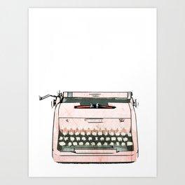 Simple Modern Retro Pop Art Pink Typewriter Print Art Print