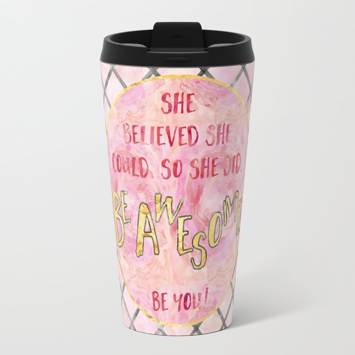 Text Art SHE BELIEVED | rose/golden Travel Mug