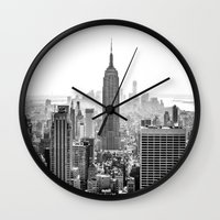 city Wall Clocks featuring New York City by Studio Laura Campanella