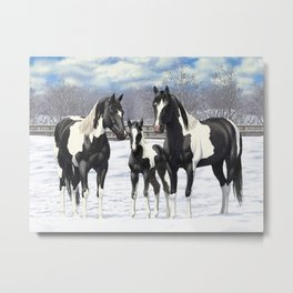 Black Pinto Horse Family Paint Horses In Snow Metal Print