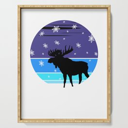 An Impressive Elk In The Snow At A Vintage Winter Night Serving Tray