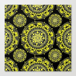 Black and Gold Regal Mandala Textile Canvas Print