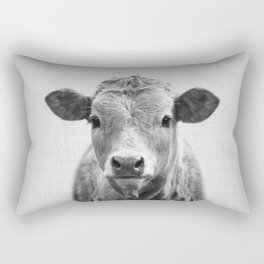 Cow 2 - Black & White Rectangular Pillow