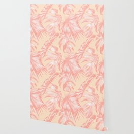 Tropical Palm Leaves on Pastel Coral Wallpaper