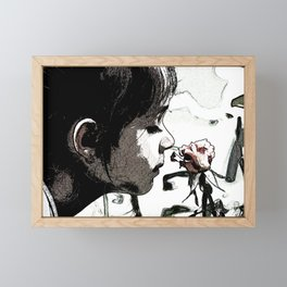Print of little girl smelling the garden rose, floral print Framed Mini Art Print