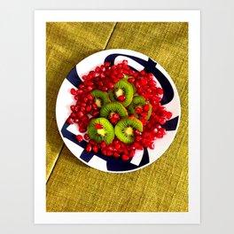 Kiwi and Pomegranate Seeds Art Print