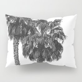 Dos Palmeras // Tropical Black and White Palm Tree Photography California Nature Ocean Vibes Pillow Sham