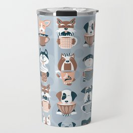 Doggie Coffee and Tea Time I // blue grey Travel Mug